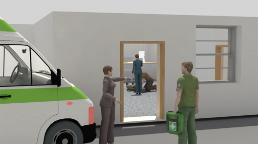 First aid appointed person in the workplace instructing paramedic