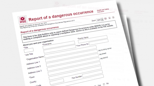 A first-aid requirement and RIDDOR report of a dangerous occurrence form