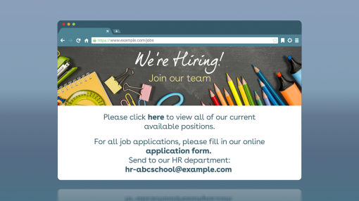 A website that is hiring for a job in Education