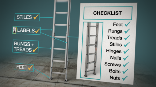 Checking stiles, labels, rungs and feet on a ladder as part of Ladder Safety Training.
