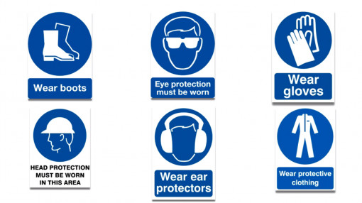 A list of Personal Protective Equipment healthy and safety signs as part of our Personal Protective Equipment Training
