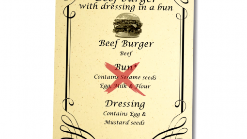 A menu showing the food allergens in the meals