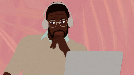 An illustration of a man at a computer with headphones on.